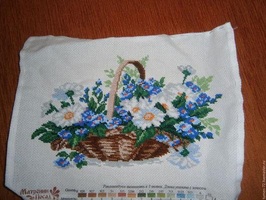 Картины цветов ручной работы. Ярмарка Мастеров - ручная работа. Купить Корзина полевых цветов. Handmade. Бледно-сиреневый