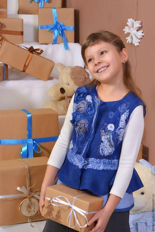 Одежда для девочек, ручной работы. Ярмарка Мастеров - ручная работа. Купить Жилет валяный Герда. Handmade. Тёмно-синий