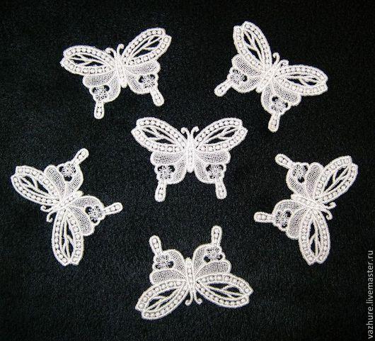 Аппликации, вставки, отделка ручной работы. Ярмарка Мастеров - ручная работа. Купить Кружевная бабочка №2. Handmade. Белый