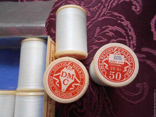 Шитье ручной работы. Ярмарка Мастеров - ручная работа. Купить Тонкие винтажные швейные нитки DMC х/б №50, белые, Франция. Handmade.