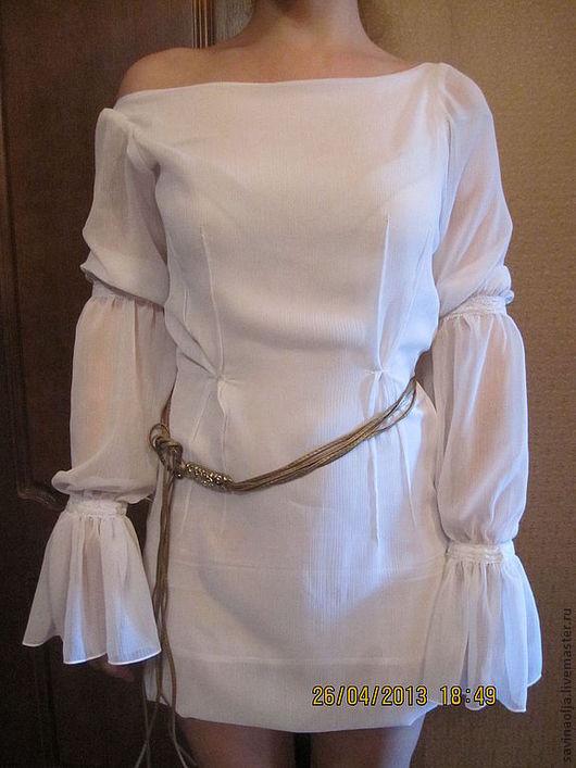 Платья ручной работы. Ярмарка Мастеров - ручная работа. Купить Платье-туника. Handmade. Белый, спущенное плечо, молчание