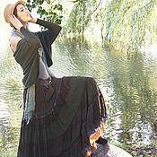 Одежда ручной работы. Ярмарка Мастеров - ручная работа Длинная многоярусная юбка ,коричнево-оливковая  в стиле бохо.. Handmade.