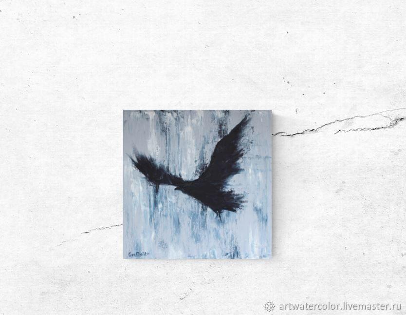 Картина маслом Ворон Картина с птицей, Картины, Москва,  Фото №1