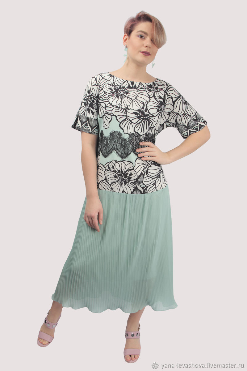 Платье мятное черно-белое с цветам в пол нарядное, Платья, Москва,  Фото №1