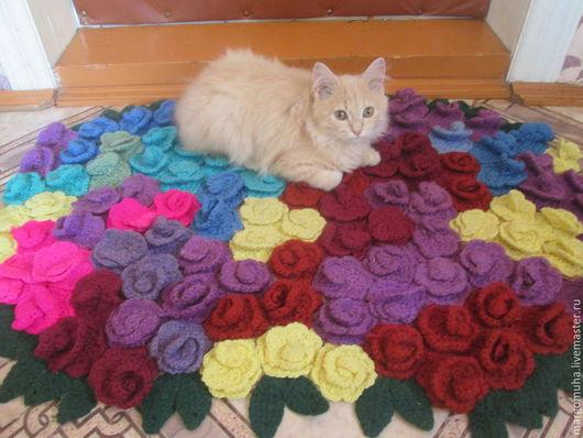 Текстиль, ковры ручной работы. Ярмарка Мастеров - ручная работа. Купить Вязаный коврик из розочек. Handmade. Разноцветный, коврик из роз