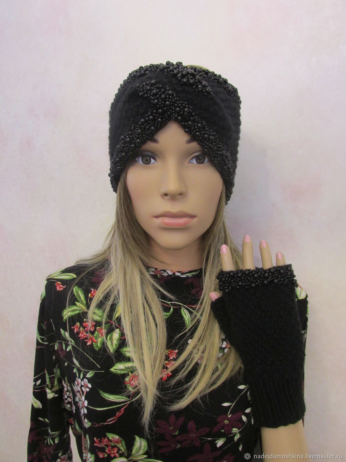 Set-headband and fingerless gloves with beads and beads, wool, black, Bandage, Petrozavodsk,  Фото №1