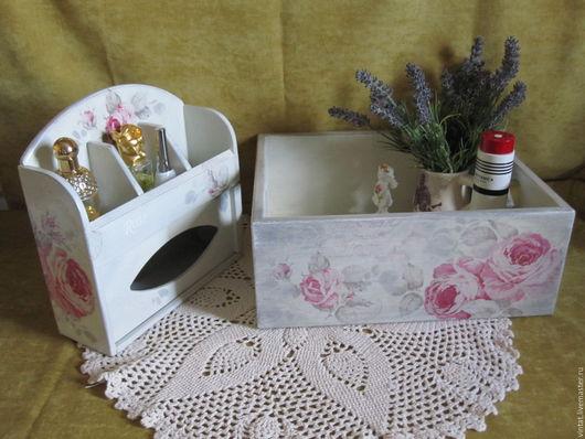 """Корзины, коробы ручной работы. Ярмарка Мастеров - ручная работа. Купить Набор для ванной  """"Розы, Прованс"""". Handmade. Бледно-розовый"""