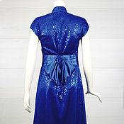 Одежда ручной работы. Ярмарка Мастеров - ручная работа Платье атласное Ультрамарин 5051. Handmade.