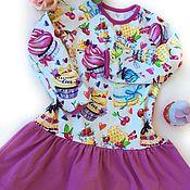 Платья ручной работы. Ярмарка Мастеров - ручная работа Платье из хлопкового трикотажа для девочки Вкусняшка. Handmade.