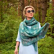 Аксессуары handmade. Livemaster - original item Emerald silk scarf Maple leaf, Botanical coloring. Handmade.