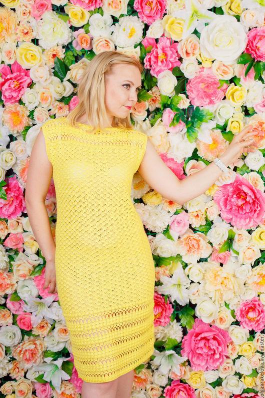 Солнечно желтое вязаное платье из бамбука и  хлопка с купонным узором можно носить даже без подклада. Нет солнца, не беда, будем солнцем сами!!!
