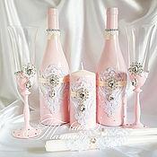 Свадебный салон ручной работы. Ярмарка Мастеров - ручная работа Нежно-розовый с брошами и ажуром. Handmade.