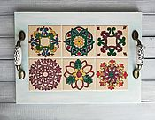 Подносы ручной работы. Ярмарка Мастеров - ручная работа Поднос с керамической плиткой. Handmade.