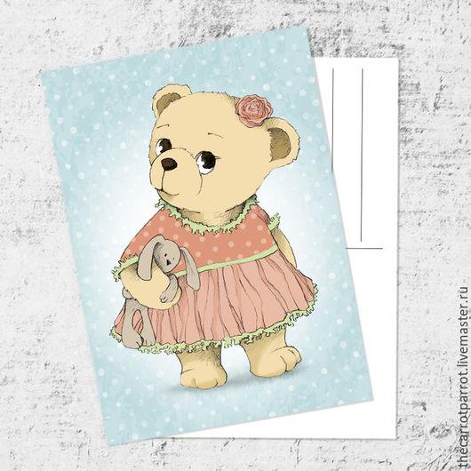 Открытки на все случаи жизни ручной работы. Ярмарка Мастеров - ручная работа. Купить Почтовая открытка «Мишка в розовом». Handmade. Тедди