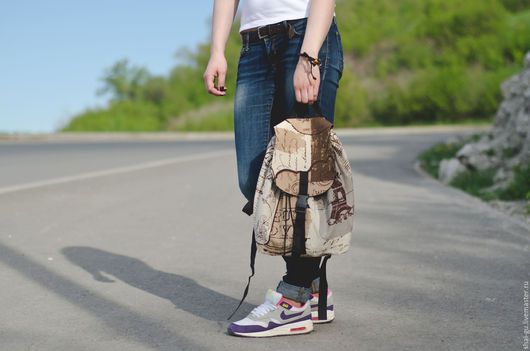 """Рюкзаки ручной работы. Ярмарка Мастеров - ручная работа. Купить рюкзак женский из ткани """"Винтаж"""". Handmade. Коричневый, рюкзак городской"""