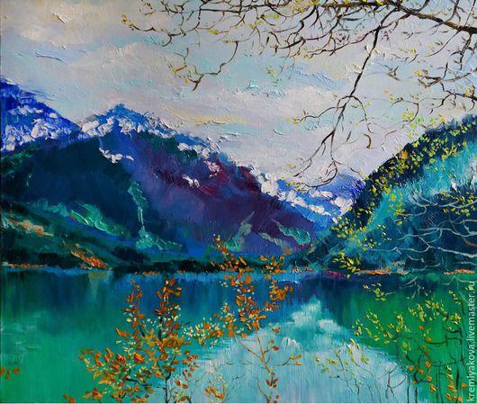 Пейзаж ручной работы. Ярмарка Мастеров - ручная работа. Купить Горы.Живопись.. Handmade. Комбинированный, горы, озеро, картина, Живопись
