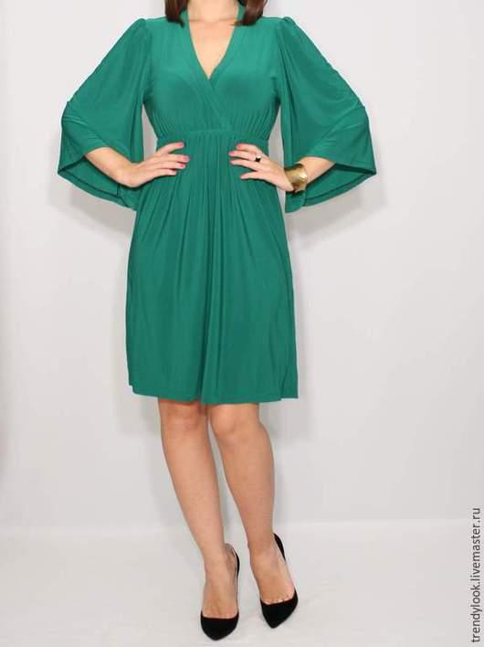 Платья ручной работы. Ярмарка Мастеров - ручная работа. Купить Короткое платье кимоно Зеленое платье. Handmade. Женская одежда