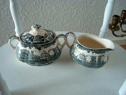 Винтажная посуда. Ярмарка Мастеров - ручная работа. Купить Сахарница и молочник «Royal Worcester Palissy». Handmade. Морская волна