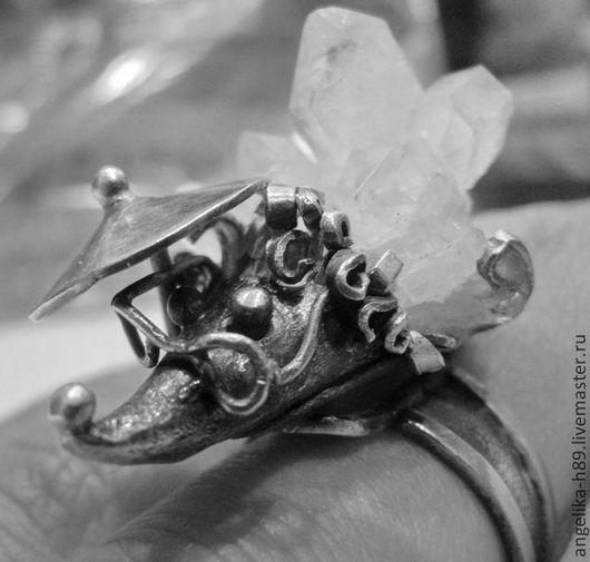 Кольца ручной работы. Ярмарка Мастеров - ручная работа. Купить Кольцо ежик из серебра с камнем, с щеточками. Handmade. Серебряный
