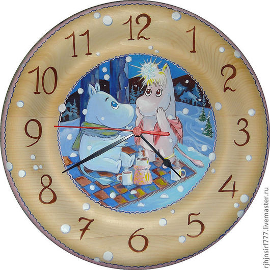 Детская ручной работы. Ярмарка Мастеров - ручная работа. Купить Часы из кедра Муми-тролли. Handmade. Часы, детские, интерьер