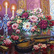 """Картины и панно ручной работы. Ярмарка Мастеров - ручная работа Вышитая картина """"Романтический букет"""". Handmade."""
