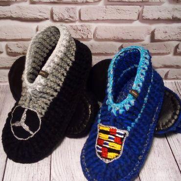 Обувь ручной работы. Ярмарка Мастеров - ручная работа Тапочки домашние Cadillac, Mercedes. Тапки вязаные мужские. Handmade.