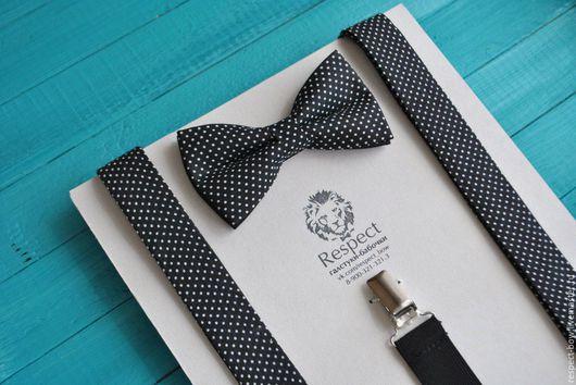 Комплекты аксессуаров ручной работы. Ярмарка Мастеров - ручная работа. Купить Черная галстук бабочка в горошек + Подтяжки черные / Комплект Одри. Handmade.