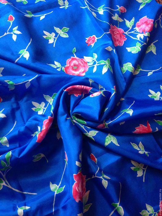 Шитье ручной работы. Ярмарка Мастеров - ручная работа. Купить Шёлк Розы на синем  . Италия. Handmade. Разноцветная, платье для девушки