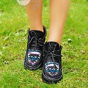 """Обувь ручной работы. Ярмарка Мастеров - ручная работа Черные кожаные ботинки """"Native Style"""". Handmade."""