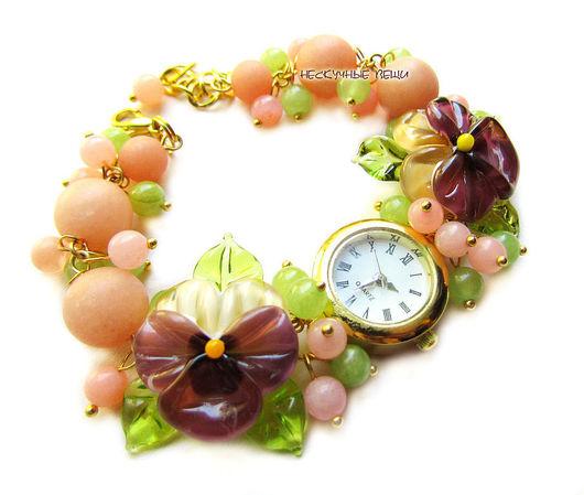 """Часы ручной работы. Ярмарка Мастеров - ручная работа. Купить """"Розовый фламинго"""" наручные часы с бусинами лэмпворк. Handmade."""