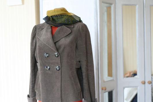 Верхняя одежда ручной работы. Ярмарка Мастеров - ручная работа. Купить 30 Пальто короткое хаки 48. Handmade. вельвет
