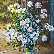 """Картины и панно ручной работы. Ярмарка Мастеров - ручная работа Картина-миниатюра """"Роз букет – очарованье"""", белые цветы. Handmade."""