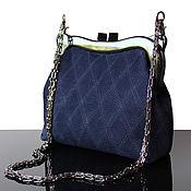 Сумки и аксессуары handmade. Livemaster - original item Dark blue suede purse, purse clasp, blue, clutch bag. Handmade.