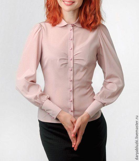 """Блузки ручной работы. Ярмарка Мастеров - ручная работа. Купить Блузка из шелка """"Пудровая"""". Handmade. Бледно-розовый, однотонный, блузка"""
