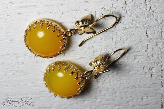 Серьги ручной работы. Ярмарка Мастеров - ручная работа. Купить Серьги-бабочки с ярко желтым агатом. Handmade. Желтый, агат