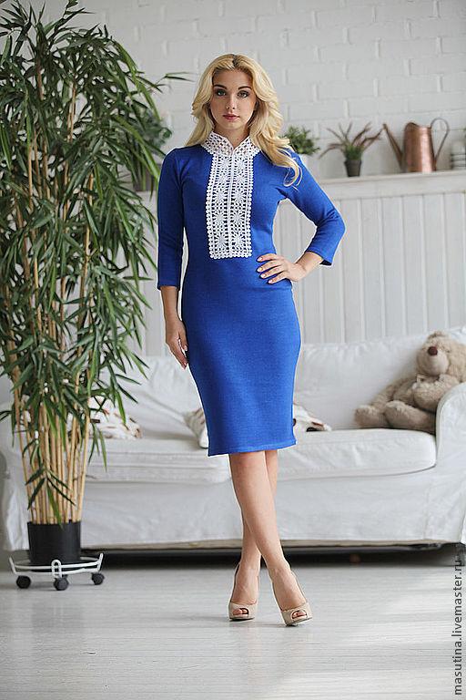 """Платья ручной работы. Ярмарка Мастеров - ручная работа. Купить Платье """"Лазурит Blue"""". Handmade. Вязаное платье, вискоза"""