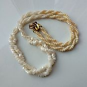 Винтаж handmade. Livemaster - original item Vintage necklace made of Czech beads beige choker on the neck. Handmade.