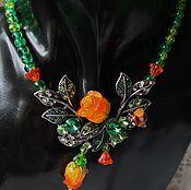Украшения handmade. Livemaster - original item Necklace lampwork roses with emerald crystals and rhinestones garden of Eden. Handmade.