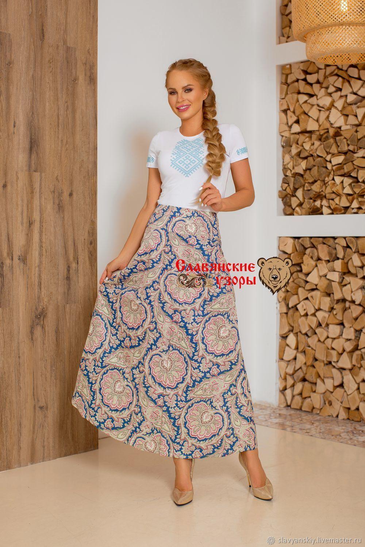 Skirt cotton Vasilisa blue, Skirts, St. Petersburg,  Фото №1