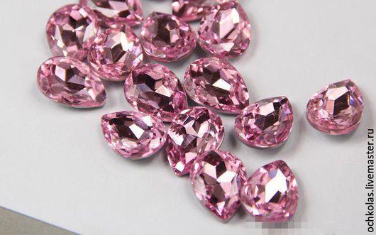 Для украшений ручной работы. Ярмарка Мастеров - ручная работа. Купить Стразы капля 25х18 мм розовый. Handmade. Розовый