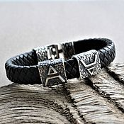Украшения handmade. Livemaster - original item Men`s leather Veles Silver Bracelet. Handmade.