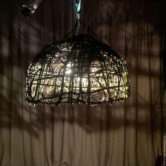 """Освещение ручной работы. Ярмарка Мастеров - ручная работа. Купить Люстра """"Гнездо"""". Handmade. Люстра, плетёный плафон, уютный дом"""