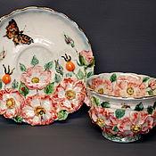 Посуда handmade. Livemaster - original item Rose hips. Tea pair with decor.. Handmade.