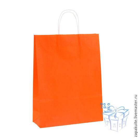 Упаковка ручной работы. Ярмарка Мастеров - ручная работа. Купить Крафт пакет, 42х32х12 см, с кручеными ручками, оранжевый, большой. Handmade.