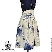 Одежда ручной работы. Ярмарка Мастеров - ручная работа Юбка летняя из льна, юбка пышная, юбка белая в складку, льняная юбка. Handmade.