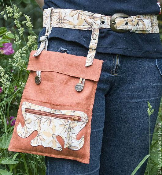 Женские сумки ручной работы. Ярмарка Мастеров - ручная работа. Купить Сумка льняная на ремне. Handmade. Рыжий, сумка на ремне