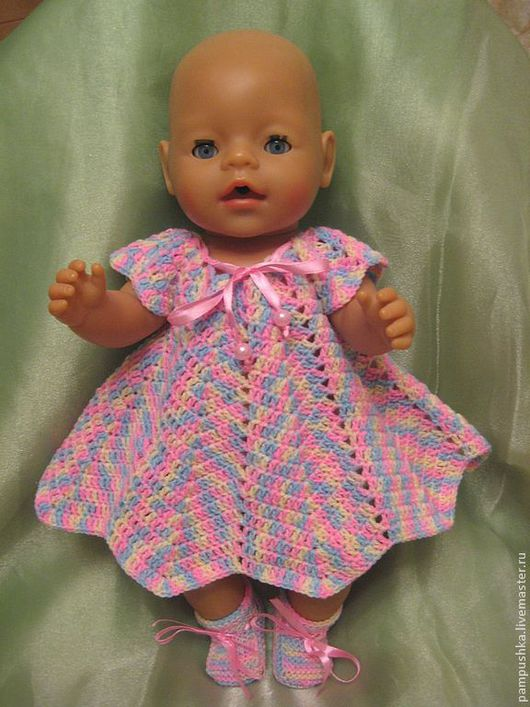 """Одежда для кукол ручной работы. Ярмарка Мастеров - ручная работа. Купить Платье и пинетки """"Леденцовые брызги"""". Handmade. Одежда для кукол"""
