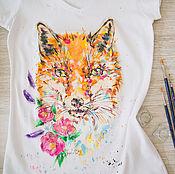 Одежда ручной работы. Ярмарка Мастеров - ручная работа футболка Лисичка. Handmade.