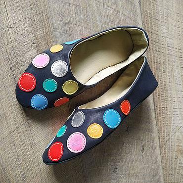 """Обувь ручной работы. Ярмарка Мастеров - ручная работа Тапочки: Тапочки домашние """"Монпасье"""" женские кожаные балетки. Handmade."""