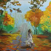 """Картины и панно ручной работы. Ярмарка Мастеров - ручная работа """"На велосипеде"""". Handmade."""